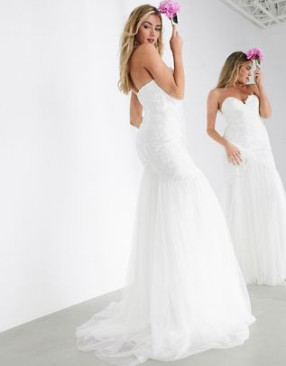 Check Out This ASOS Edition Freya Embroidered Wedding Dress With Mesh Fishtail