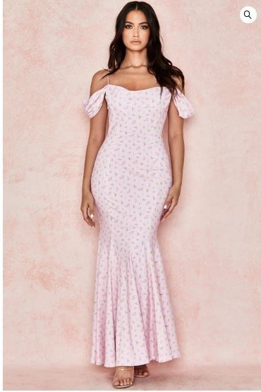 Wedding Guest Outfit- Pink Floral Draped Maxi Dress - House of CB