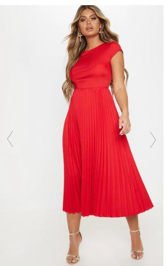 Wedding Guest Outfit - Red Cap Sleeve Pleated Midi Skater Dress - Pretty Little Thing